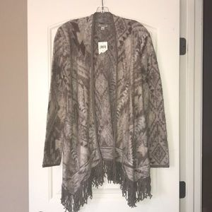 Lucky Brand Brushed Fringe Cardigan Sweater